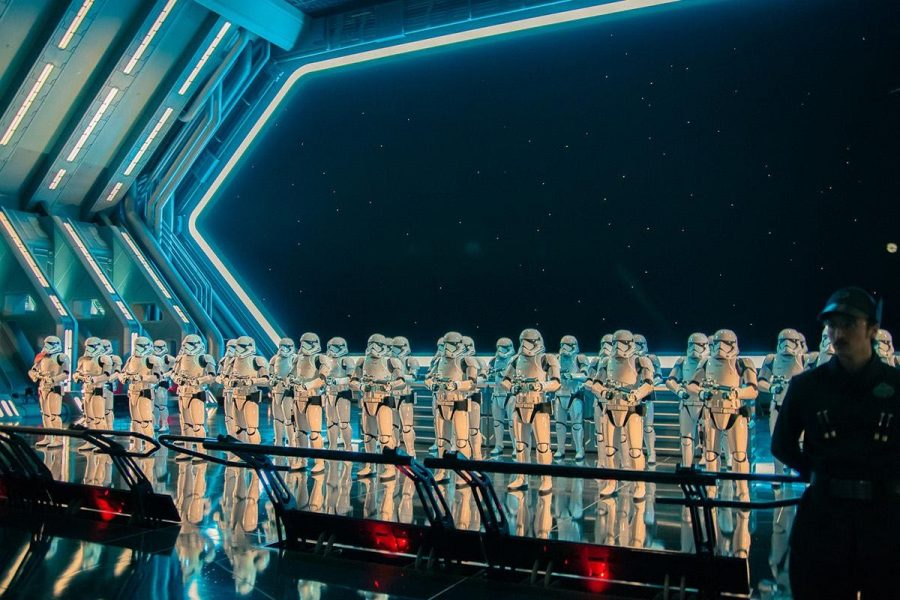 Stormtroopers guarding a First Order hangar at Disneyland's Rise of the Resistance.