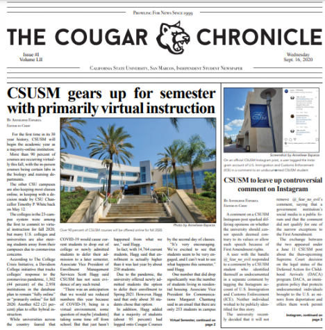 Read Edition 1 of The Cougar Chronicle (9/16/20)