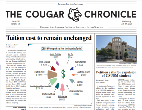 Read Edition 3 of The Cougar Chronicle (10/14/20)