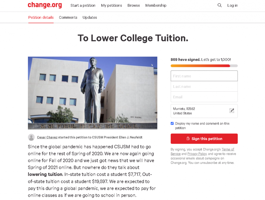 Close+to+1%2C000+students+have+signed+a+petition+to+reduce+tuition+costs+for+next+spring%2C+but+the+CSU+is+not+planning+on+changing+current+prices.