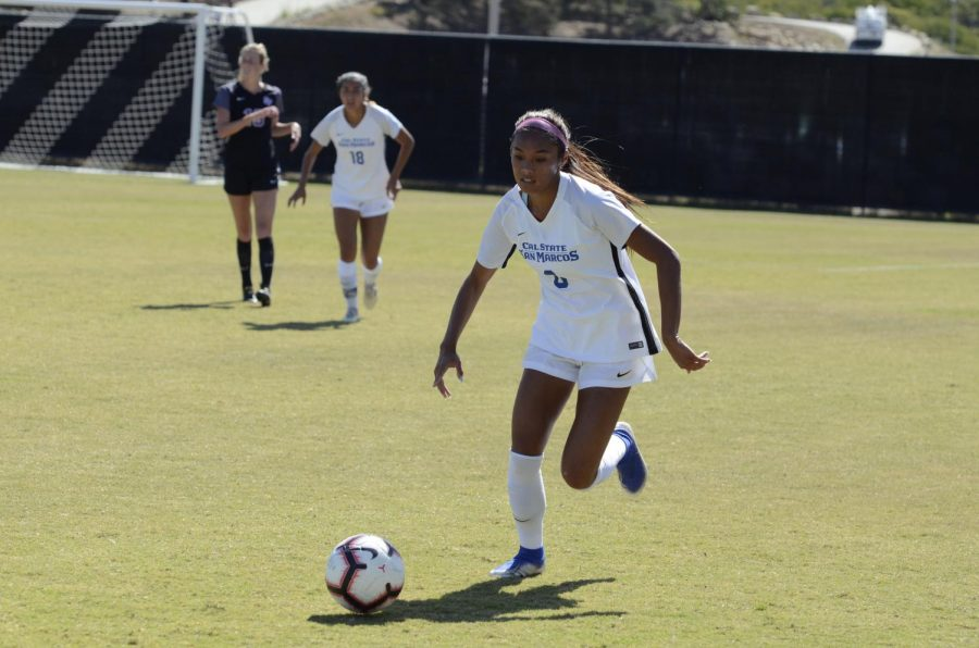 Student athletes will have to wait another semester to compete. (Pictured: Sarah Aragon on the women's soccer team.)
