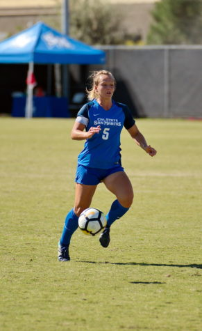 Amy Wilson ('18) continues to stay close to teammates she met through CSUSM soccer. Currently she is a substitute teacher for a middle school and hopes to pursue a permanent science teaching position in the fall.