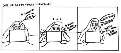 """Cartoon: Online Class """"Participation"""""""