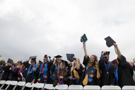 3,637 graduating students from the classes of 2020 and 2021 registered to attend a 2021 commencement ceremony on the weekend of May 22-23. Pictured are graduates from a past commencement ceremony.