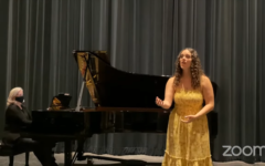 Senior music students will complete their capstone projects virtually because of the COVID-19 pandemic. Pictured is Sarah Lehman singing.