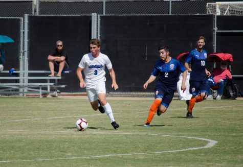 Corbin Thaete (#3) feels good to be back on the field playing soccer for CSUSM following the pandemic.